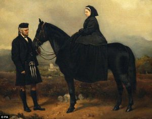 Victoria and John Brown with horse