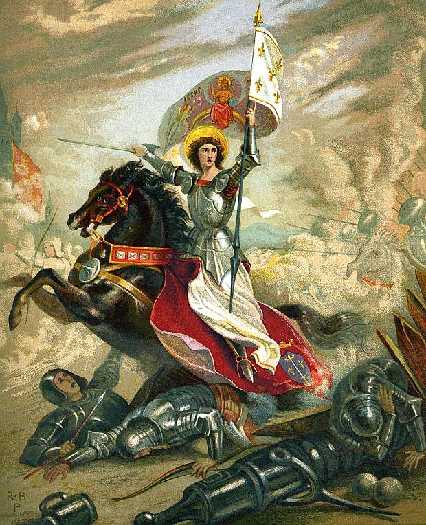 joan of arc astride a horse in battle