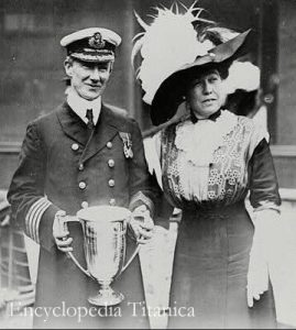 Margaret Brown and Captain Rostron of the RMS Titanic